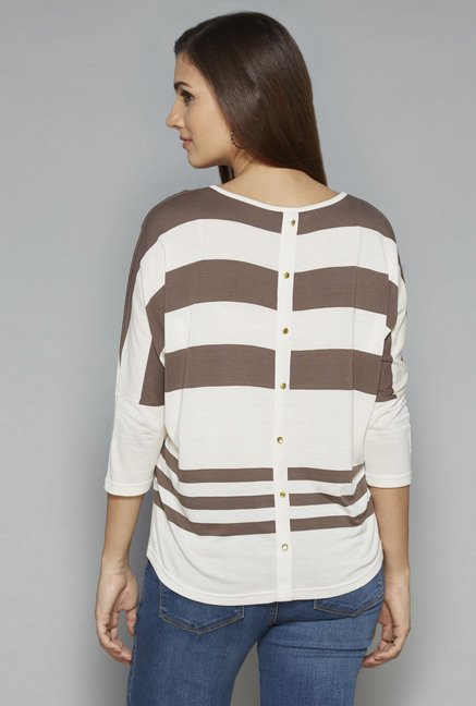 LOV by Westside Taupe & Off White Zebra Top