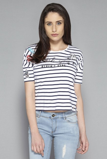 Nuon by Westside White & Navy Striped T Shirt