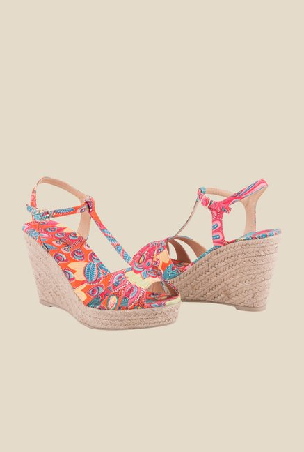 MIM Multicolour Ankle Strap Wedges