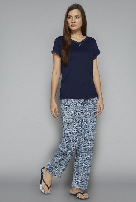 Intima by Westside Blue Geometric Print Pyjama