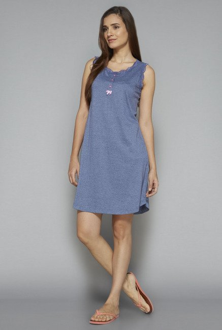 Intima by Westside Blue Printed Nightdress