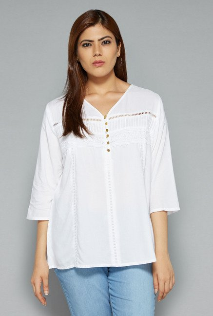 Gia by Westside White Linet Blouse