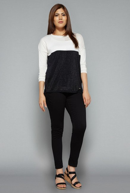 Gia by Westside Black & White Crochet Sweater