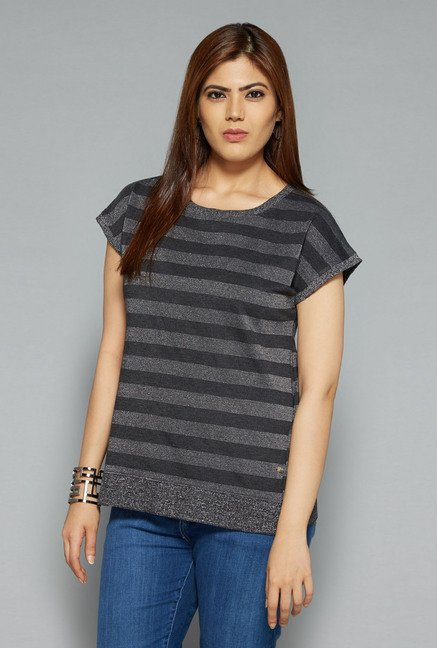 Gia by Westside Grey & Black Gail Top