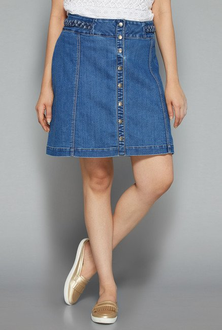 Sassy Soda by Westside Indigo Solid Skirt