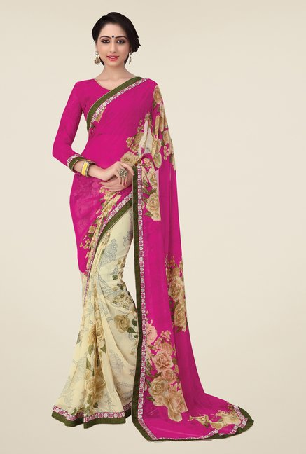 Salwar Studio Pink and Cream Floral Print Saree