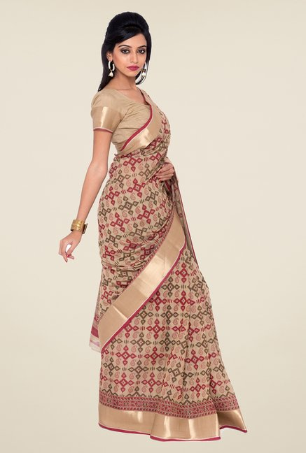 Salwar Studio Beige & Wine Printed Saree