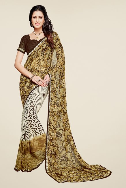 Salwar Studio Olive Green and Brown Printed Saree
