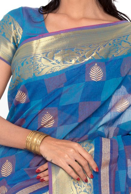 Salwar Studio Royal Blue & Grey Printed Saree