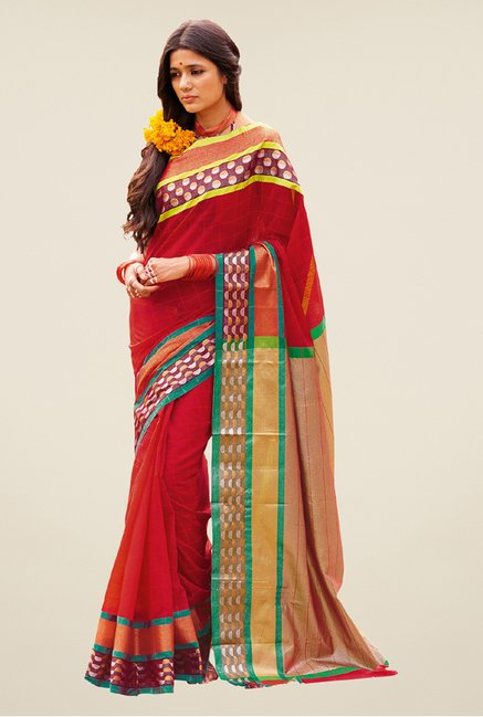 Salwar Studio Red Handwoven Saree