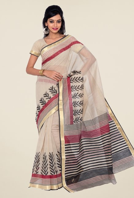 Salwar Studio Beige and Maroon Printed Saree