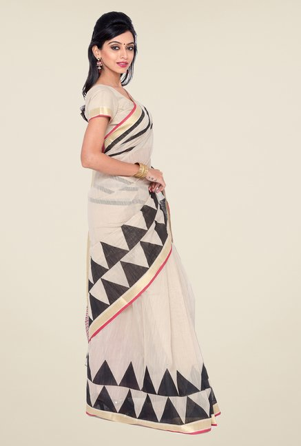 Salwar Studio Beige and Black Printed Saree