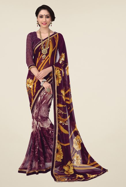 Salwar Studio Wine Printed Saree