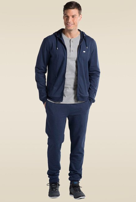 bce29528a36 Buy Jockey Ink Blue Melange Zip Thru Hoodie - US91 for Men Online @ Tata  CLiQ