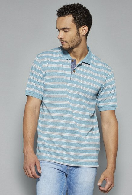 Westsport by Westside Turquoise Striped Polo T Shirt