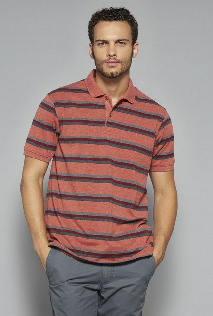 Westsport by Westside Coral Striped Polo T Shirt