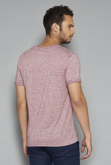 ETA by Westside Maroon Textured T Shirt