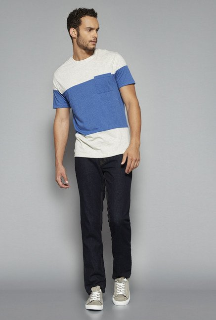 Westsport by Westside Off White & Blue Solid T Shirt