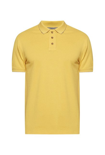 Westsport by Westside Yellow Solid Polo T Shirt