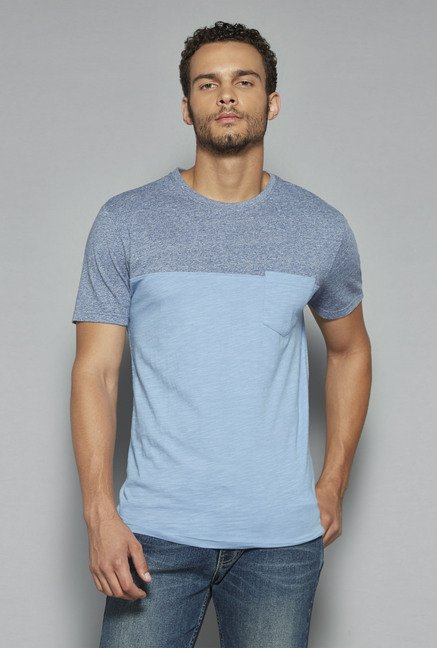 Westsport by Westside Blue Solid T Shirt