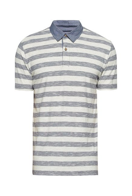 Westsport by Westside Grey & Off White Striped Polo T Shirt