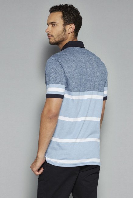 Westsport by Westside Blue Striped Polo T Shirt