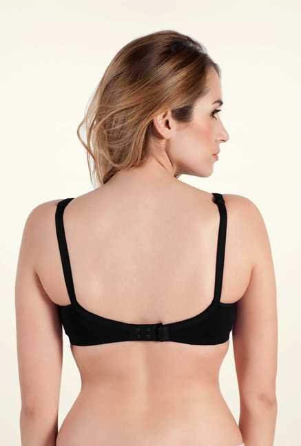 Bwitch Black Cotton Non-wired Seamless Bra