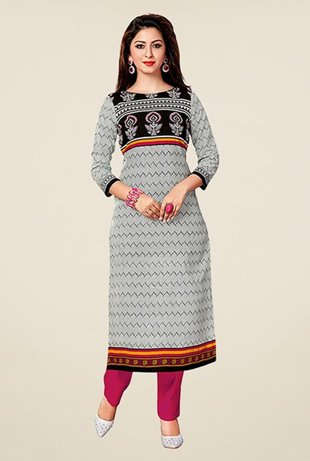Salwar Studio Grey & Black Printed Unstitched Kurti