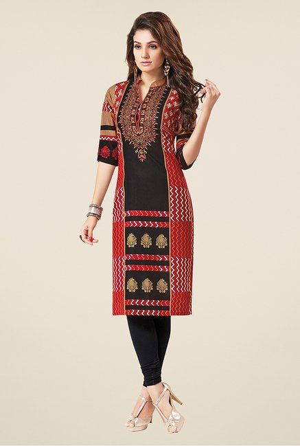 Salwar Studio Red & Black Printed Unstitched Kurti