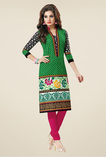 Salwar Studio Green & Black Printed Unstitched Kurti
