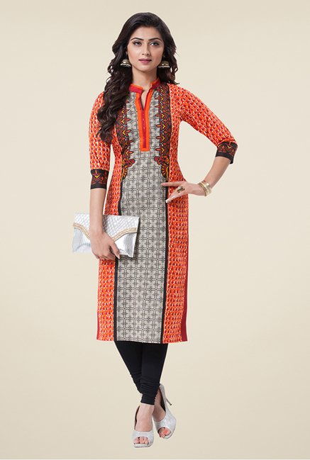 Salwar Studio Orange & Red Printed Unstitched Kurti