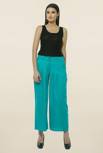 W Turquoise Pleated Palazzos