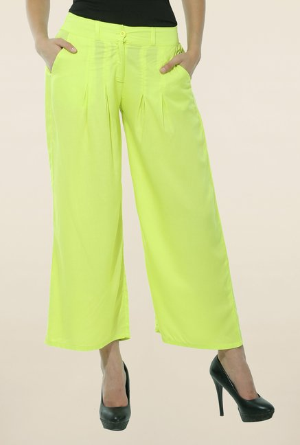 W Green Pleated Palazzos