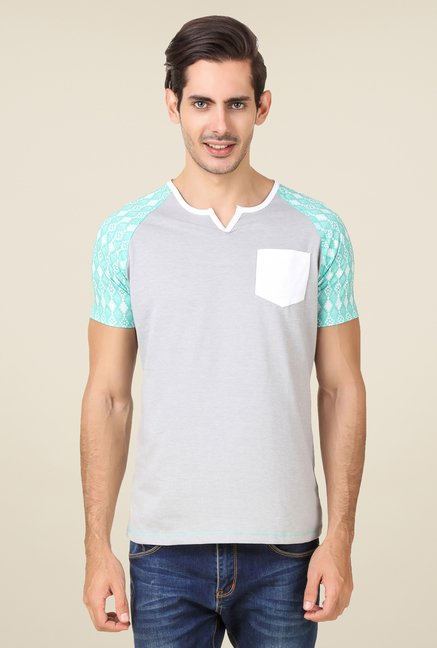 Spunk Grey Solid T Shirt