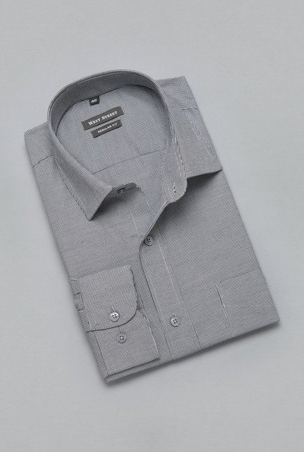 Weststreet by Westside Grey Houndstooth Print Shirt