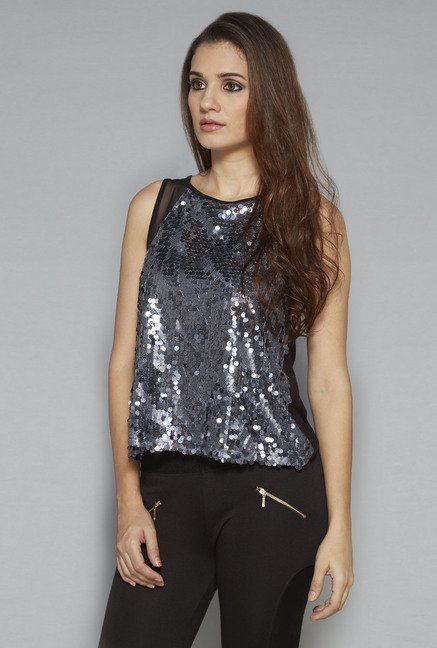 Nuon by Westside Silver Embellished Top
