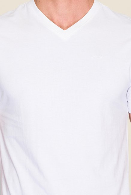Park Avenue White Solid T Shirt