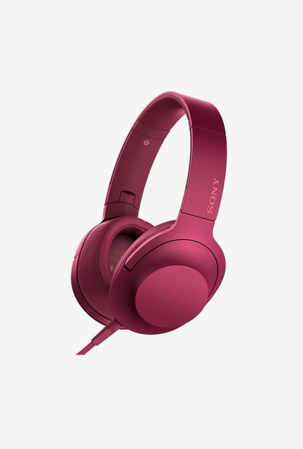 Sony MDR-100AAP Over the Ear Headphones With Mic  (Pink)