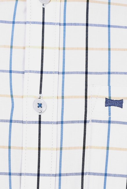 Basics Off White Checks Shirt
