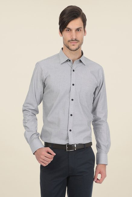 Basics Grey Self Print Shirt