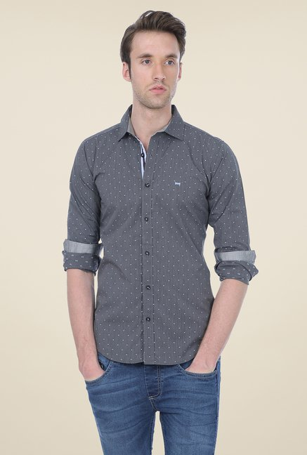 Basics Grey Printed Shirt