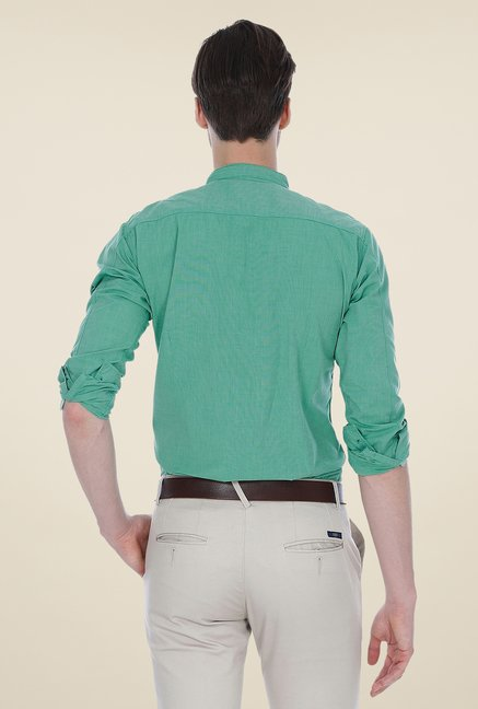 Basics Sea Green Solid Shirt