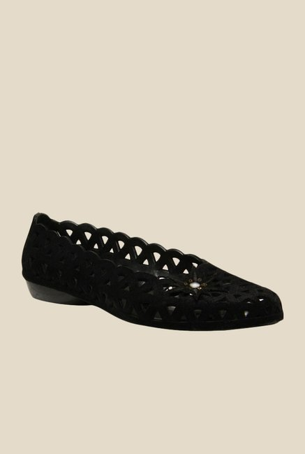 Sandak Lyla Flocking Black Espadrille Shoes
