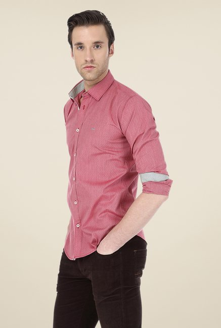 Basics Maroon Striped Shirt