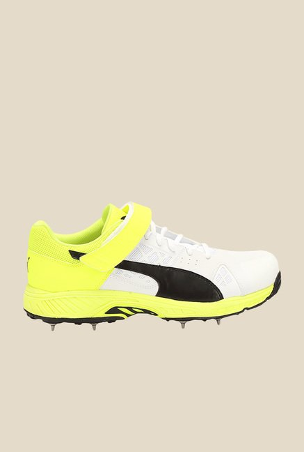 Puma evoSpeed White & Safety Yellow Cricket Shoes