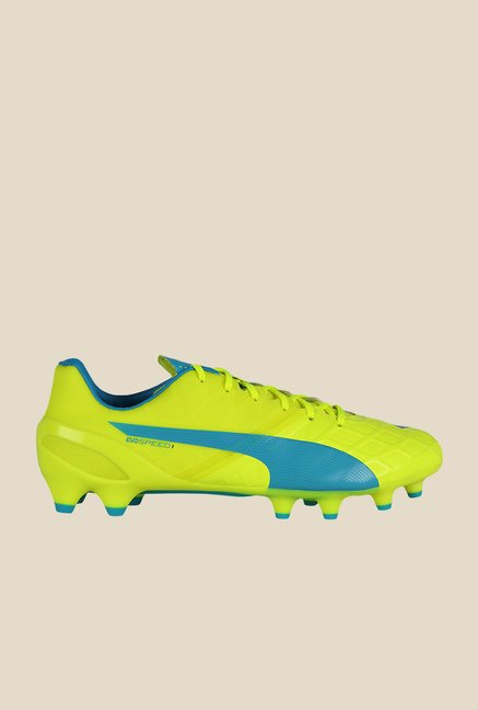 Puma EvoSpeed 1.4 FG Safety Yellow & Blue Football Shoes