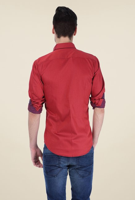 Basics Maroon Printed Shirt