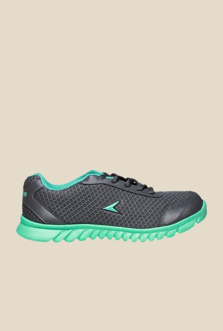 Power Fly Lace Dark Grey & Green Running Shoes