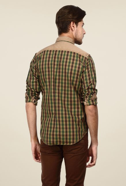 Basics Dark Beige Checks Shirt