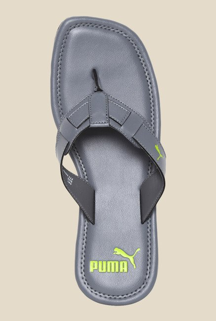 Puma Weave DP Steel Grey & Lime Punch Flip Flops